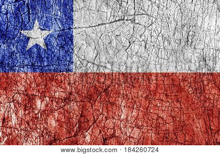 Grudge stone painted Chile flag close up