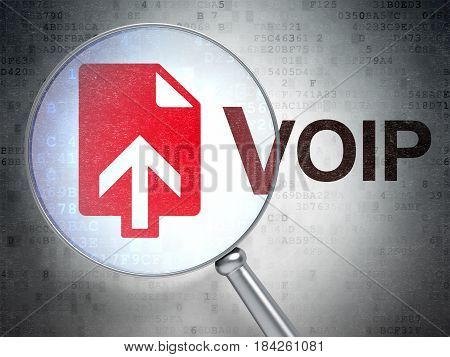 Web development concept: magnifying optical glass with Upload icon and VOIP word on digital background, 3D rendering