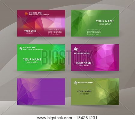 Business Card Background Blue Triangle Mosaic Horizontal Templates03
