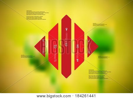 Illustration infographic template with motif of rhombus vertically divided to five standalone red sections with simple sign number and sample text. Blurred photo is used as background.