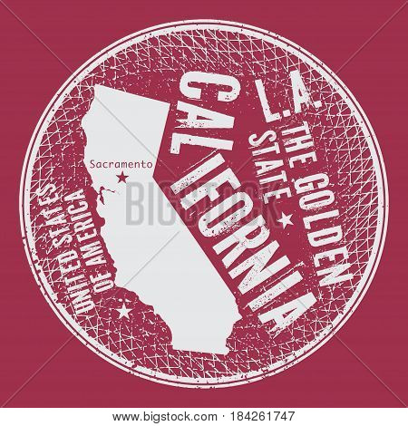 Grunge vintage round stamp or label with text California The Golden State vector illustration
