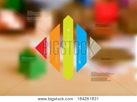 Illustration infographic template with motif of rhombus vertically divided to five standalone color sections with simple sign number and sample text. Blurred photo is used as background.