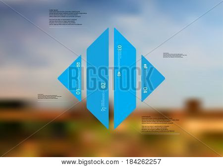 Illustration infographic template with motif of rhombus vertically divided to four standalone blue sections with simple sign number and sample text. Blurred photo is used as background.