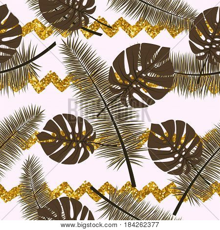 Beautiful seamless vector floral summer pattern background with tropical palm leaves and gold tinsel.Perfect for wallpapers web page backgrounds surface textures textile
