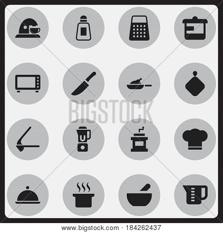 Set Of 16 Editable Cook Icons. Includes Symbols Such As Soup, Cup, Pot-Holder And More. Can Be Used For Web, Mobile, UI And Infographic Design.