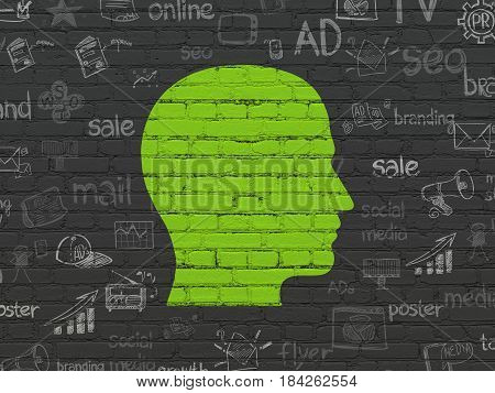 Advertising concept: Painted green Head icon on Black Brick wall background with  Hand Drawn Marketing Icons