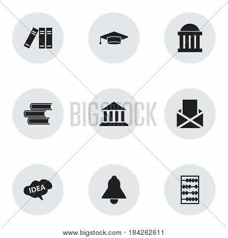 Set Of 9 Editable Science Icons. Includes Symbols Such As Bookshelf, Mind, Arithmetic And More. Can Be Used For Web, Mobile, UI And Infographic Design.