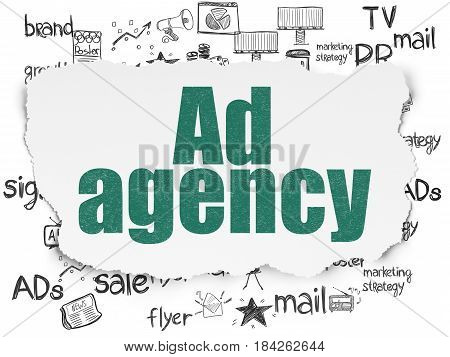 Advertising concept: Painted green text Ad Agency on Torn Paper background with  Hand Drawn Marketing Icons