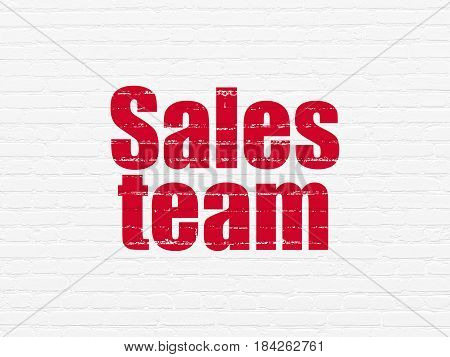 Advertising concept: Painted red text Sales Team on White Brick wall background