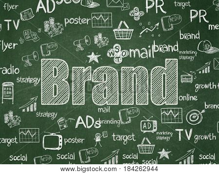 Marketing concept: Chalk White text Brand on School board background with  Hand Drawn Marketing Icons, School Board