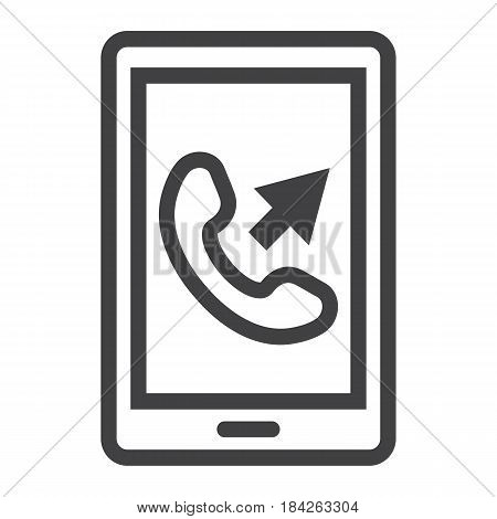 Outgoing call line icon, Contact us and website button, vector graphics, a linear pattern on a white background, eps 10.