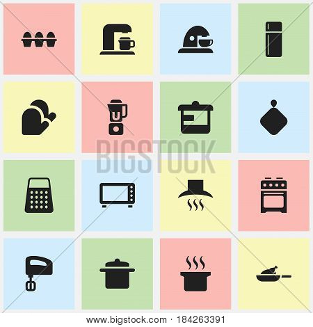 Set Of 16 Editable Cooking Icons. Includes Symbols Such As Cup, Agitator, Cookware And More. Can Be Used For Web, Mobile, UI And Infographic Design.