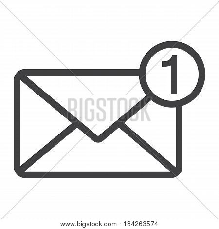 New message line icon, email and website button, vector graphics, a linear pattern on a white background, eps 10.