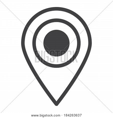 Location line icon, map pin and website button, vector graphics, a linear pattern on a white background, eps 10.