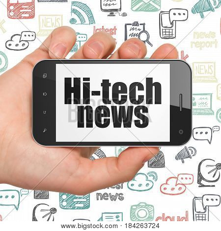 News concept: Hand Holding Smartphone with  black text Hi-tech News on display,  Hand Drawn News Icons background, 3D rendering