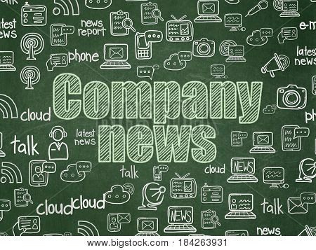 News concept: Chalk Green text Company News on School board background with  Hand Drawn News Icons, School Board