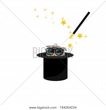 Very high quality original trendy vector illustration of magic hat with owl in glasses and wand with sparkles