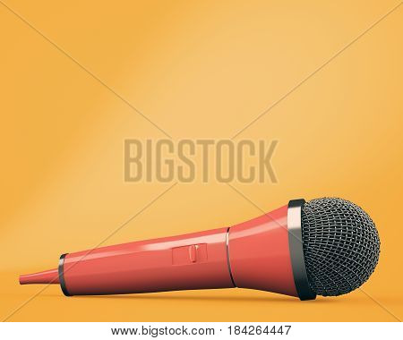 Red microphone on orange background. 3d rendering