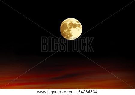 Full bright moon in the night. Astrotheme planets and starry sky. The scene with the round luna. The mystical nature time.