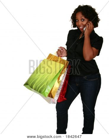 African American Girl Holding Shopping Bags And Phone 2