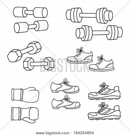 Sport equipment, healthy lifestyle elements. A set of simple cartoon dumbbells, boxing glovers and sneakers isolated on white background.