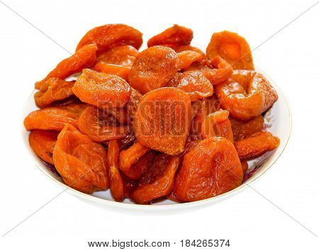 Juicy Dried Dried Fruits Lie On A Saucer, Isolated, Apricot