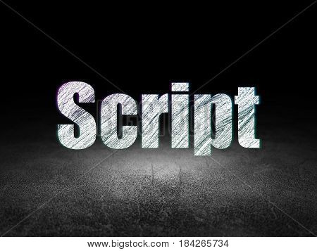 Programming concept: Glowing text Script in grunge dark room with Dirty Floor, black background