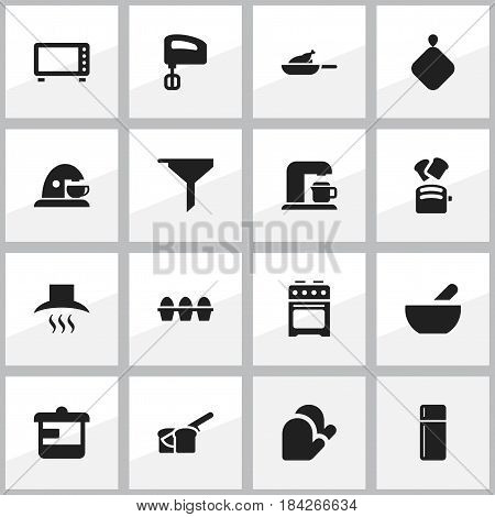 Set Of 16 Editable Cooking Icons. Includes Symbols Such As Grill, Oven, Agitator And More. Can Be Used For Web, Mobile, UI And Infographic Design.