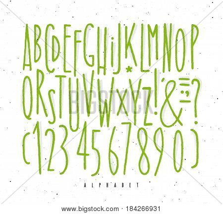 Alphabet set straight lines font in vintage style drawing with green lines on white background