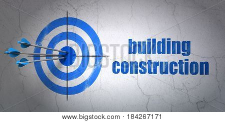 Success construction concept: arrows hitting the center of target, Blue Building Construction on wall background, 3D rendering