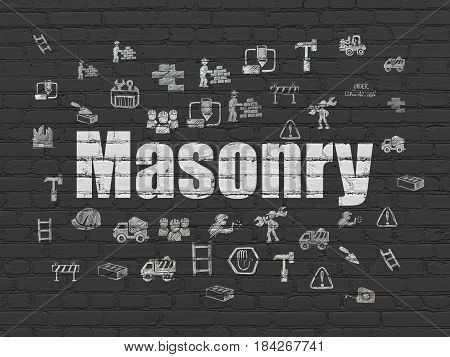Constructing concept: Painted white text Masonry on Black Brick wall background with  Hand Drawn Building Icons