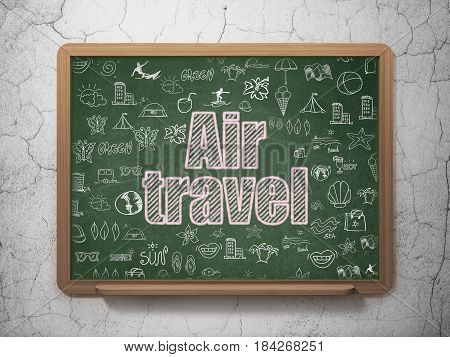 Travel concept: Chalk Pink text Air Travel on School board background with  Hand Drawn Vacation Icons, 3D Rendering