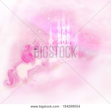 Castle in the clouds and Cute unicorn , raster