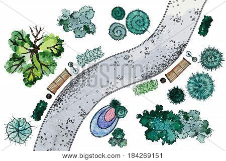 Vector set of hand drawn watercolor pictorial landscape design elements. Different types of green trees, shrubs, lanterns, benches and snaky sidewalk, isolated on the white background for landscape design