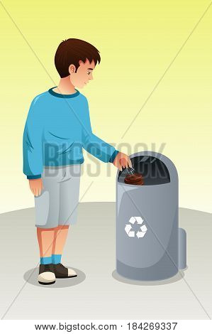 A vector illustration of Boy Recycling Trash in Trash Can