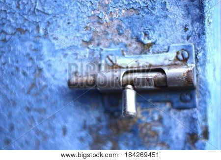 Old Vintage Latch Lock On Blue Shabby Cracked Painted Door