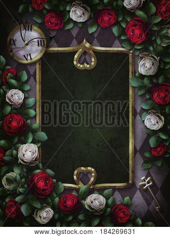 Alice in Wonderland. Red  roses and white roses on  chess background. Wonderland background. Rose flower frame. Gold frame. 3D Illustration
