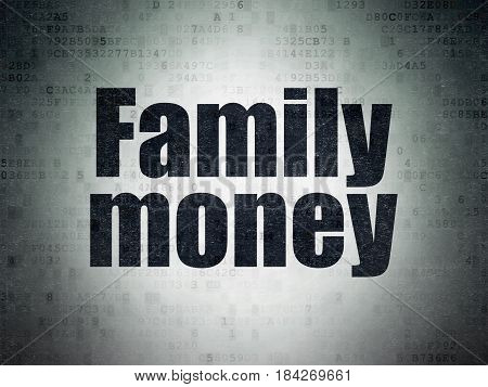 Currency concept: Painted black word Family Money on Digital Data Paper background