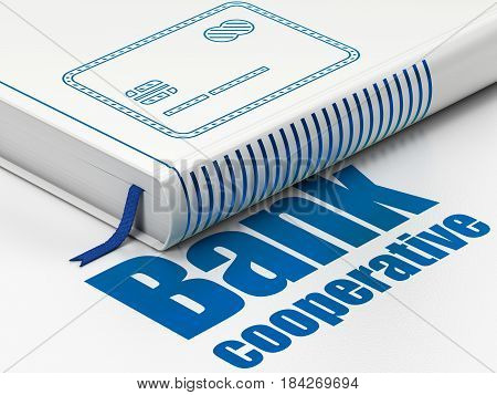 Money concept: closed book with Blue Credit Card icon and text Bank Cooperative on floor, white background, 3D rendering