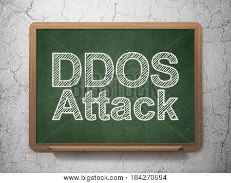 Safety concept: text DDOS Attack on Green chalkboard on grunge wall background, 3D rendering
