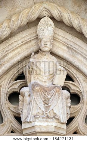 KORCULA, CROATIA - NOVEMBER 09: Statue of St. Mark the Evangelist on the St Mark s Cathedral in the historic city Korcula at the island Korcula in Croatia on November 09, 2016.