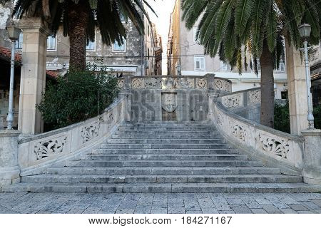 KORCULA, CROATIA - NOVEMBER 09: Stairs entrance to the old medieval town of Korcula, Dalmatia, Croatia on November 09, 2016.