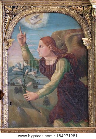 DUBROVNIK, CROATIA - NOVEMBER 08: Archangel Gabriel on the altar of the Resurrection of Jesus in the Franciscan church of the Friars Minor in Dubrovnik, November 08, 2016.