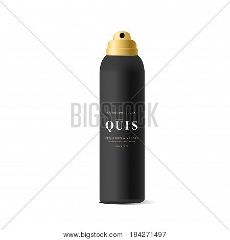 Realistic black bottle for cosmetic. Realistic spray cleaner, plastic bottle, trigger spray. Mock up bottle. Cosmetic vial, shampoo, oil, gel. Design label, sticker for beauty bottle