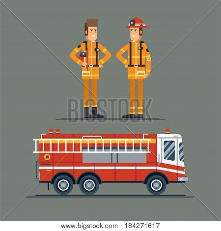 Two firefighter officers in personal protecting equipment standing. Fire engine truck. Cool vector characters on firemen rescue workers male characters in flat design