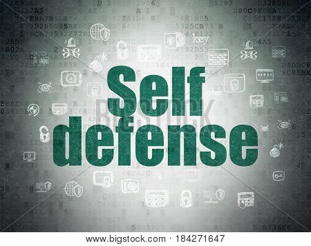 Safety concept: Painted green text Self Defense on Digital Data Paper background with  Hand Drawn Security Icons