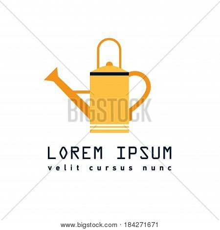 Illustration in flat style water can gardering equipment. Icon of yellow watering can