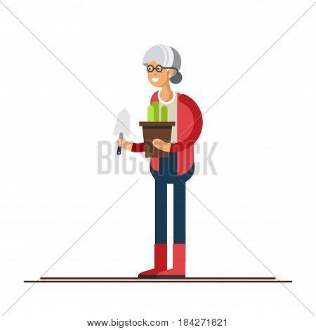 Vector flat illustration of gardener character. Elderly woman holding flower pots isolated in white background. Hobby of the elderly people
