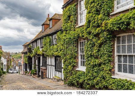 Cobbled street in the Sussex town of Rye on the south coast of England