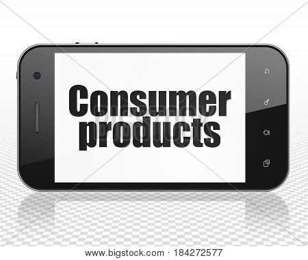 Business concept: Smartphone with black text Consumer Products on display, 3D rendering